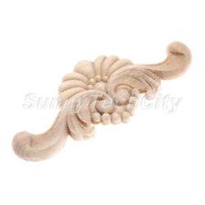 4x Unpainted Wood Carved Corner Onlay Applique Floral Furniture Cabinet Decor