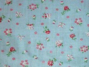 "Vtg Glazed Cotton Fabric Light Blue w/ Tiny Red Flowers & Carts 36"" x 5.33 yds"