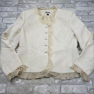 Kasper Petite Women's Jacquard Ivory Ruffle Trim Blazer 10P  **flaw**