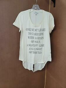 Haute Hippie tribe knit graphic tee with tail-Cream - Womens Size Large