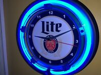^Miller Lite Beer Bar Advertising Man Cave Neon Wall Clock Sign2
