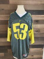 Oregon Ducks Football Number 53 Green Yellow Jersey Nike Mens Large Vintage