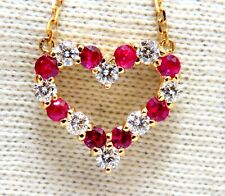 1.06ct Natural Red Ruby Diamond Open Heart Necklace 14 Karat