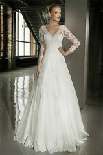 Vintage Beaded Lace Applique A Line Sheer Wedding Dresses with 3/4 Sleeves