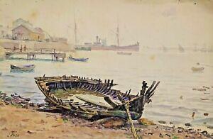 SHIPWRECKED BOAT ON THE BEACH. WATERCOLOR. SIGNED JULIÁN DEL POZO. SPAIN. XIX-XX