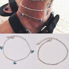 Rhinestone Jewelry Cross Ankle Bracelet Silver Alloy Anklet Women's Foot Crystal