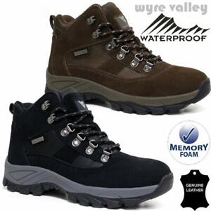 Mens Leather Walking Hiking Waterproof MEMORY FOAM Ankle Boots Trainers Shoes