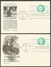 1985 CHARLES CARROLL 14C US POSTAL CARDS.2-FOLD EACH .FIRST DAY OF ISSUE