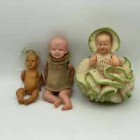 Lot of 3 Small Vintage Celluloid Dolls - France - Japan - USA