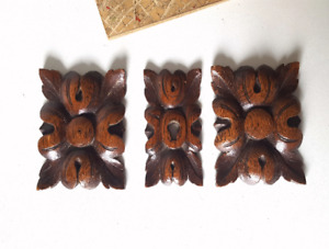 Antique wood heyhole plate and wood carving appliques Set of 3 rosettes