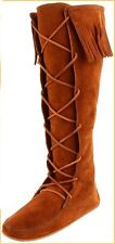 Minnetonka Womens 1422 Brown Suede Front Lace Hardsole Knee Hi Fringe Boots 4M