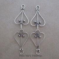 2 sterling silver clasps Bali heart hook eye