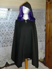 Medieval Black Hooded Wrap Poncho Cape gothic steampunk Re/enactment 1 size new