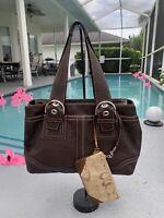 COACH SOHO Brown Leather LRG Shoulder Zip Tote Shopper Purse Bag 10912 +wristlet