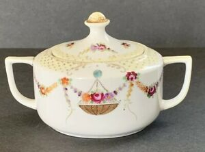 Antique Nippon Moriage Porcelain Sugar Bowl Hand Painted Roses Floral Gold Trim