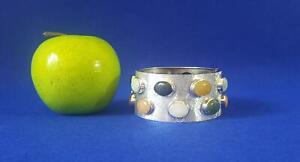 V Broad Modernist Sterling Silver Hinged Bangle w Cabochon Polished Agates 98g