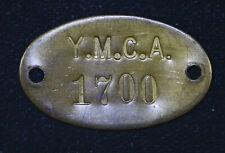 34mm Y M C A 1700 Vintage keychain Fob brass plaque tag