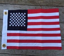 100% Cotton Usa American Flag Embroidered Sewn Stripes Classic Boat Flag 12x18 ""