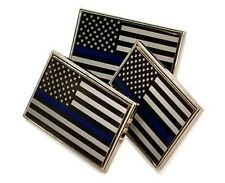 3 Pack of Thin Blue Line American Flag Police Support Lapel Pins Tie Tacks