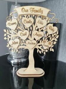 Laser cut 3mm birch plywood Family Tree Personalised with hearts