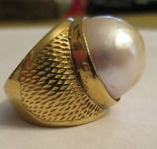 Vintage 18K Gold Mabe Pearl Ring 15 MM Mabe Pearl  13.80 Grams  Size 5