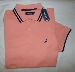 NWT MEN'S Nautica S/S  Polo Shirt~CORAL~SZ MEDIUM