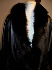 JACQUELINE FERRAR, BLACK LEATHER & FOX FUR COLLAR, JACKET SIZE MEDIUM