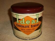 "VINTAGE IDEAL CHOCOLATE STRAWS TIN CAN ~ 1 lb. ~ 3 7/8"" HIGH ~ ""FREE SHIPPING"""