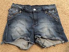 ROCK & REPUBLIC Distressed PIXIE Cut Off Denim Jean Hi-Rise Shorts womens 8