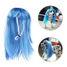 Pet Dog Cat Costume Long Straight Wig Headwear Halloween Cosplay Fancy Dress Up
