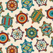 Tucson Native American Beaded Turtles Southwest Cream Cotton Fabric Fat Quarter