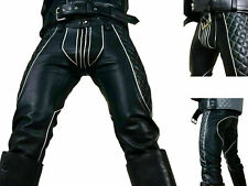 Men's Real Cowhide Leather Pants Jeans Trousers Padded White Stripes BLUF GAY