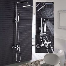 Chrome Wall Mount Shower Faucet Single Handle Tub Spout Mixer Tap Hand Sprayer