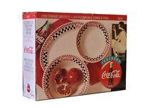 Gibson Coca Cola Diner Stoneware 3 Piece Completer Set Black Red White Checks