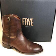 Frye Melissa Button Short 2 Leather Boot Bootie Brown Redwood Zip Sz 8M $298
