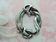 ANTIQUE SILVER Large Serpent SNAKE Stampings ~ Jewelry Oxidized Finding (C-505)