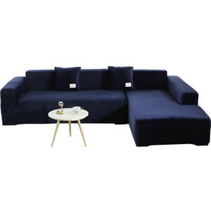 Sofa Fitted Covers Recliner Sectional Blue Stretch Slipcover Elastic Protector