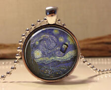 Doctor Who Necklace. Tardis Van Gogh Dr who art pendant jewelry Dr Who necklace