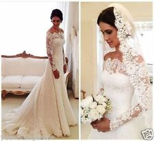 Elegant White/Ivory Lace Off-Shoulder Long Sleeve Wedding Dress bridal gown