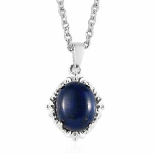 "925 Sterling Silver Lapis Necklace Pendant with Magnetic Clasp Size 20"" Ct 3.7"