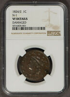 1824/2 1c Coronet Head Large Cent - N-1 - NGC VF Dets - Looks XF - SKU-X1392