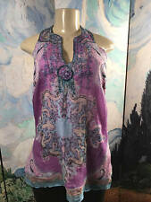 ECI New York New L  Purple Silk Print Split Neck Beaded Sleeveless Tunic Top
