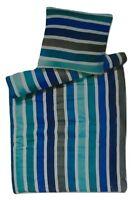 Mikrofaser Bettwäsche Set 2 teilig 135x200 cm 100% Baumwolle blau/grau gestreift
