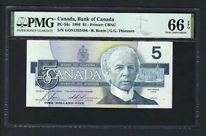 Canada 5 Dollars 1986 BC-56c Uncirculated Graded 66