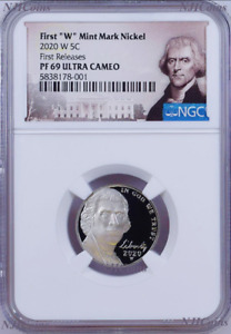 "2020 W First ""W"" Mint Mark Nickel NGC PF69 Ultra Cameo Portrait Label FR"