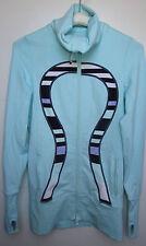 Lululemon In Stride Jacket Yoga Running Auqamarine Discovery Stripe Sz 4 EUC