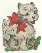 Dog Puppy Christmas Card Red Bow Antique Holly Berries