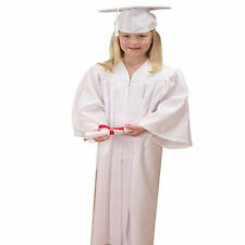 Children's White Graduation Outfit Cap and Gown Outfit Costume Set Kids Unisex