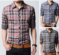 Mens Long Sleeves Dress Shirts Luxury Casual Plaids Checks Slim Fit Camisas 6146