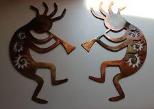 "Copper/Bronze Plated Arizona Kokopelli's Set of 2  12"" tall pair"